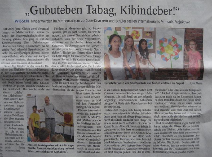Wir waren in der Zeitung - Gießener Anzeiger, 21.07.2015