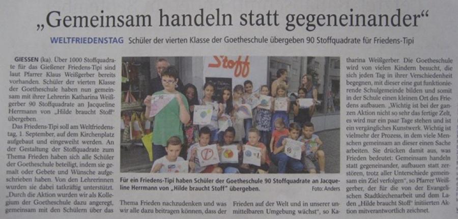 Wir waren in der Zeitung - Gießener Anzeiger, 22.07.2015